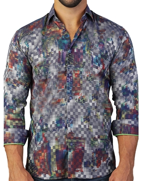 Captivating Digital Square Print Dress Shirt