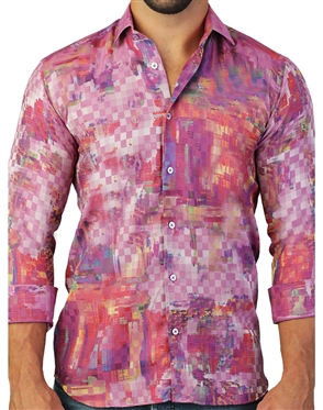 Captivating Pink Digital Square Print Dress Shirt