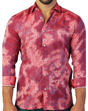Luxury Red Paisley Dress Shirt