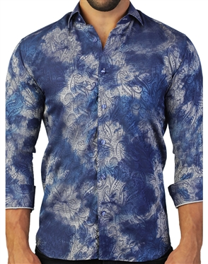Luxury Blue Paisley Dress Shirt