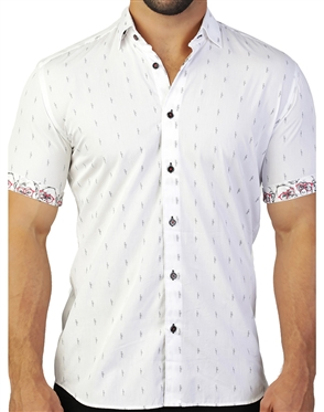 White Black Flamingo Print Dress Shirt