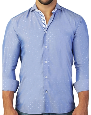 Designer Blue White Dot Dress Shirt