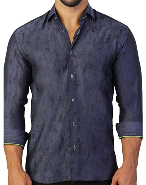Dark Blue Camo Jacquard Dress Shirt