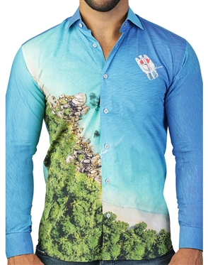 Ariel Beach-Scape Print Dress Shirt
