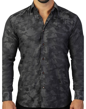 Stylish Black Camo Dress Shirt