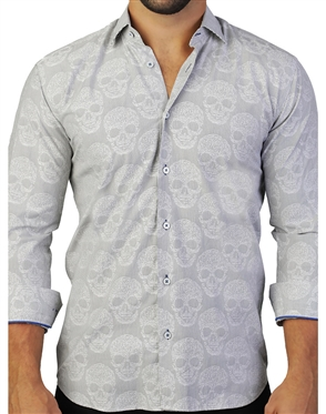 Intriguing Grey Skull Dress Shirt