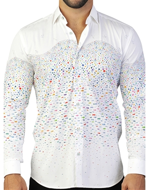 Colorful White Fish Print Dress Shirt