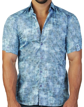 Blue Sky Print Short Sleeve Dress Shirt