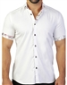 White Jacquard Weave Short Sleeve Dress Shirt