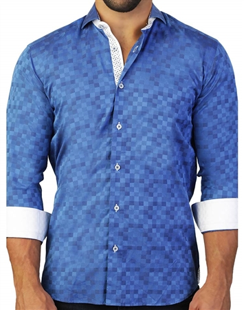 Unique Digital Blue Square Print Dress Shirt