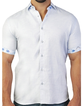 Fashionable Light Blue Short Sleeve Woven