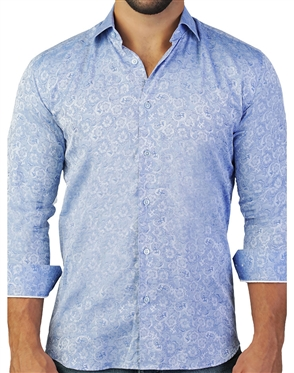 Blue Paisley Floral Dress Shirt