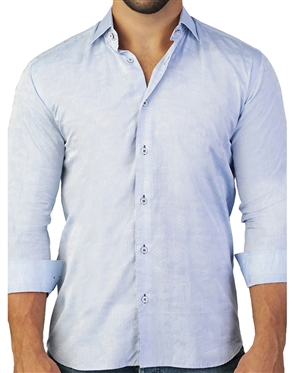 Light Blue Honeycomb Jacquard Shirt