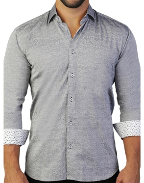 Luxury Gray Static Paisley Dress Shirt