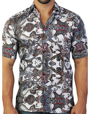 Multi-Colored Paisley Print Short Sleeve Woven