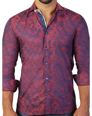 Stylish Red Army Jacquard Weave Shirt
