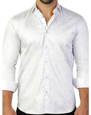 White Paisley Floral Jacquard Dress Shirt