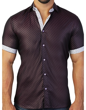 Gradient Black Purple Check Dress Shirt