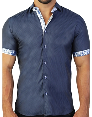 Fashionable Dark Blue Dress Shirt