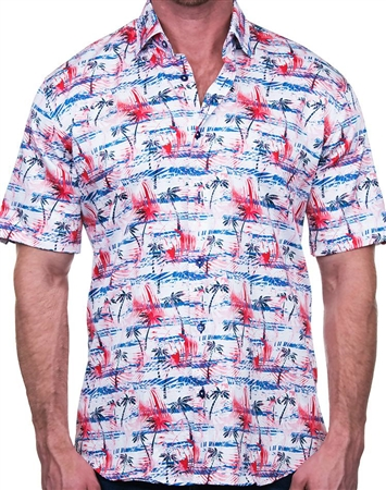 Blue and Red Palm Print Dress Shirt