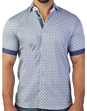Spectacular Blue Fan Print Short Sleeve Dress Shirt