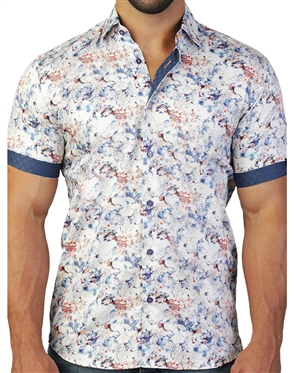 Colorful Blue Short Sleeve Woven