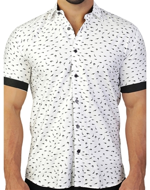White Black Shark Print Dress Shirt
