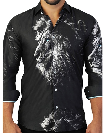 Black White Lion Print Dress Shirt