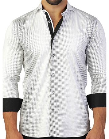 Interesting And Stylish White And Black Dress Shirt