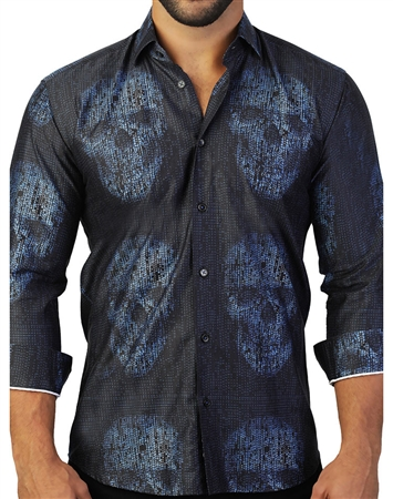 Blue Skull Dress Shirt