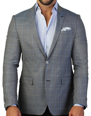 Grey And Light Blue Check Blazer