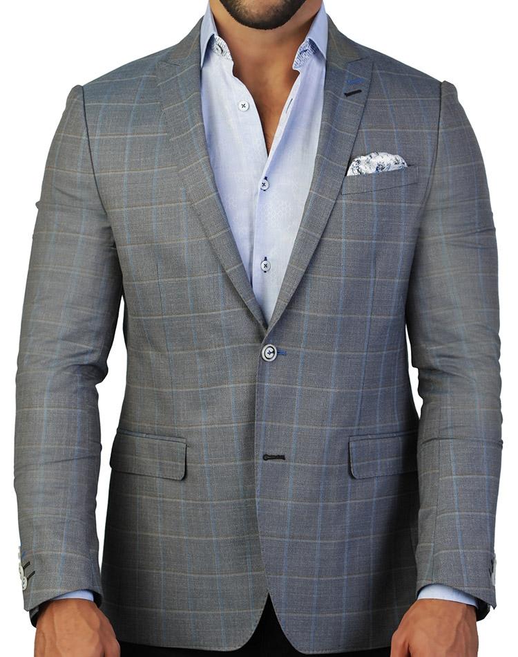 Grey blazer-Blue magic Lace