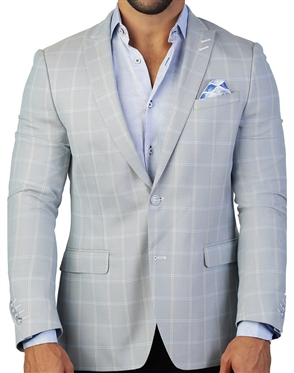 Steel Blue Check Blazer