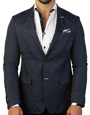 Royal Blue Camo Jacquard Blazer