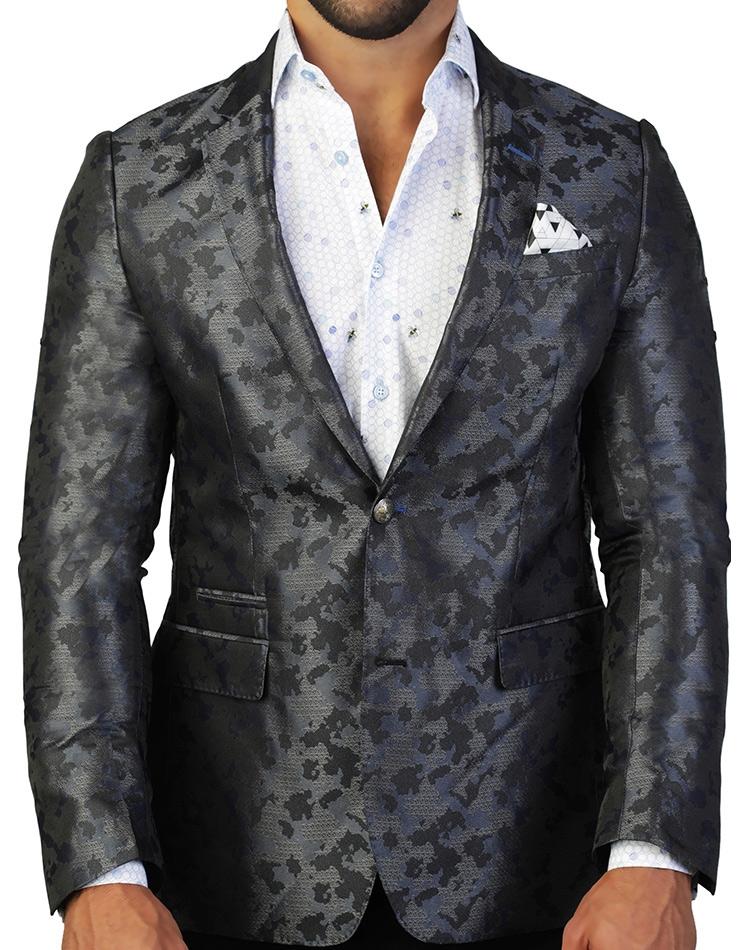 c0b23059a8d75 Silky Iron Gray Camo Blazer   Fashion-Forward Mens Sport Coat ...