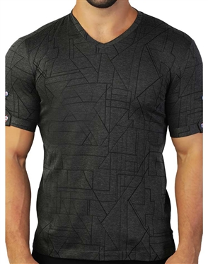 Black Abstract Geometric V-Neck Tee