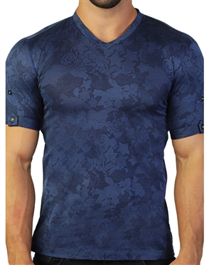 Abstract Blue V- Neck Shirt
