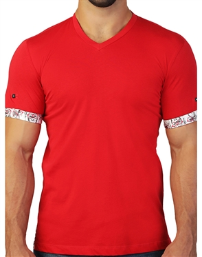 Sporty Red V-Neck Tee