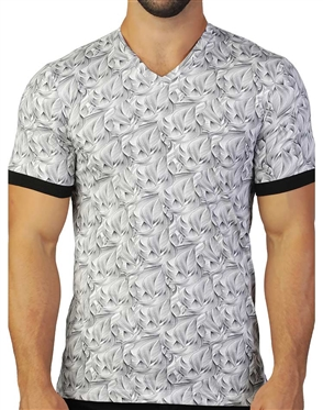 Fashionable White Grey  Wave Print Tee