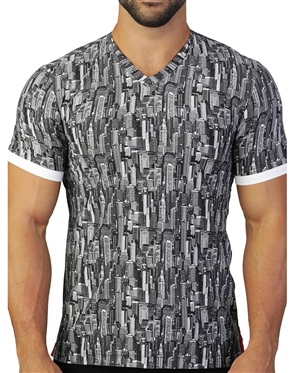 Designer Abstract Print V Neck Shirt
