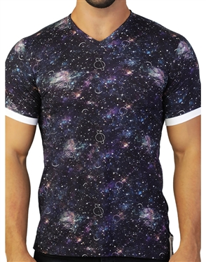 Creative Galaxy Print V-Neck Shirt