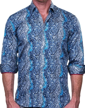 Artistic Blue Dress Shirt