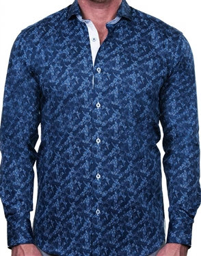 Stylish Pixel Blue Print Dress Shirt