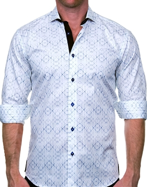 Fashionable White and Blue Dress Shirt