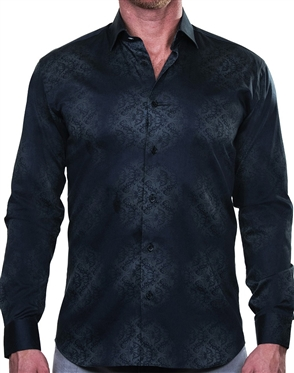 Elegant Vine Print Dress Shirt