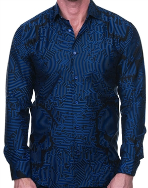Interesting Blue-Black Network Skull Dress Shirt