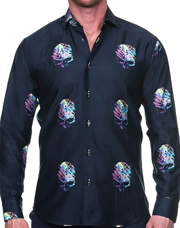 Neon Art Skull Print Dress Shirt