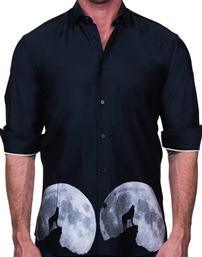 Howling Wolf Print Dress Shirt