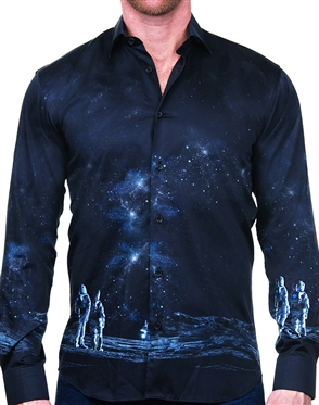 Imaginative Moon Landing Print Dress Shirt