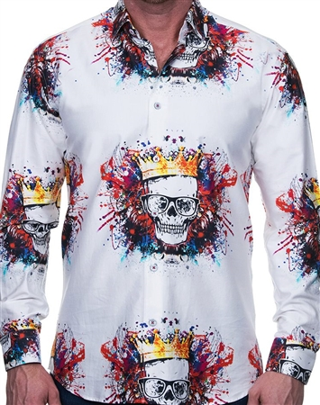 Urban Tattoo Skull Print Dress Shirt